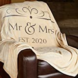 1i4 Group Soft Sentiments Outrageously Soft Reversible Velvet Ultra Plush Throw - 50 x 60 Inch - Mr & Mrs 2020