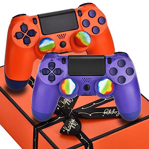 AUGEX Christmas 2 Pack Wireless Controller Comp. with PS4,Work with Playstation 4 Remote Control,Pa4 Gamepad for Xmas Gift for Boys/Girls/Kids/Family (Orange Sunset & Pink Purple),Not Original Mando