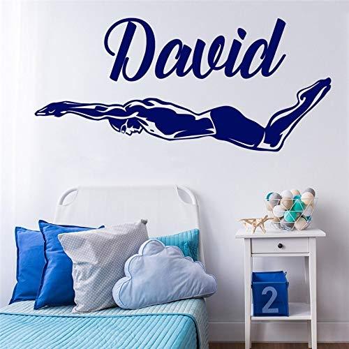 Personalizado Nombre personalizado Póster Mural Natación Nadador Natación Decoración FOr Niños Calcomanías Habitación Beuaty Active Sports 42X93cm