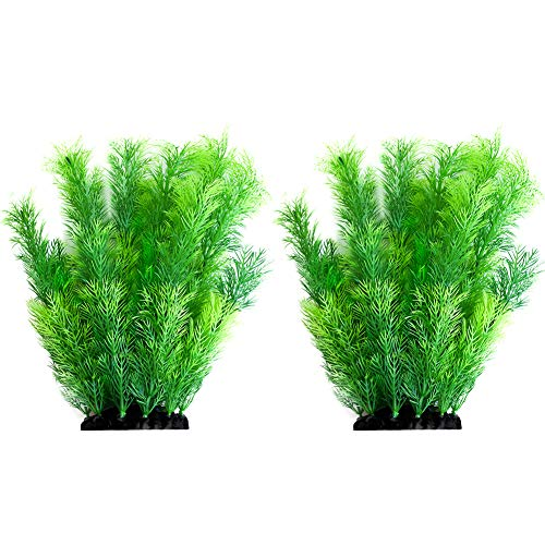 Smarlin Artificial Aquarium Plants, Plastic Fish Tank Plants Decor, 2 Pack, Non-Toxic & Safe for All Fishes (10 inches, Green)