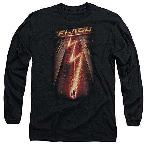 Flash - manches Hommes flash Ave Long T-shirt, Large, Black