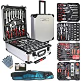 799pcs Aluminum Trolley Case Tool Set Silver, House Repair Kit Set, Household Hand Tool Set, with Tool Belt,Gift on Father's Day (Silver)…