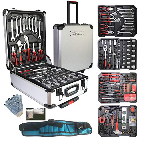 799pcs Aluminum Trolley Case Tool Set Silver House Repair Kit Set Household Hand Tool Set with Tool BeltGift on Father Day Silver…
