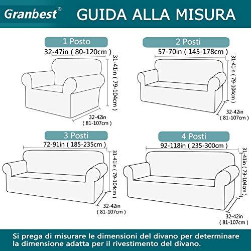 GranbestCopridivanoSpessaCopridivanoElasticizzato3PostiFoderaperDivanoAntiscivoloTessutoJaquardLavabile(3 Posti, Grigio)