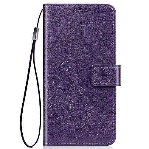 Wuzixi Funda para Meizu 18. Ranuras para Tarjetas, PU Cuero Flip Folio Carcasa, con Soporte Plegable Apto para Meizu 18 Smartphone.Púrpura