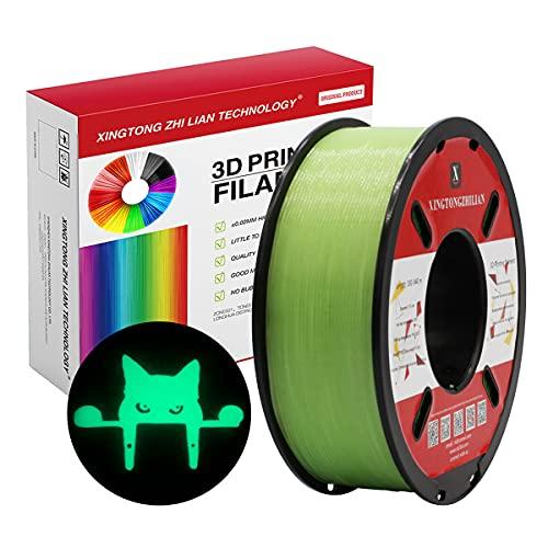 PLA 3D Drucker Filament 1.75mm 3D-Druckmaterialien für 3D Stift Druck Maßgenauigkeit +/- 0.02 (Grün Nachtleuchtend, 1kg / Spule)