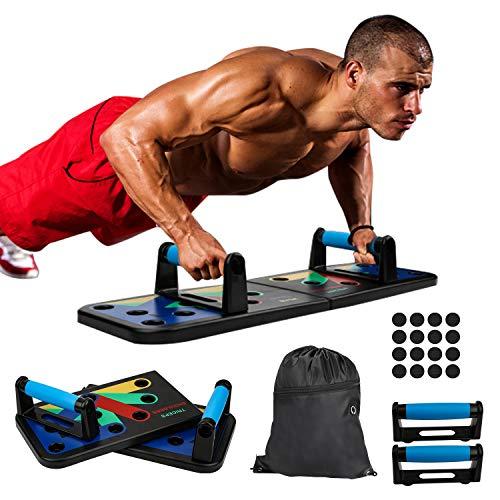 Hengda Unisex 13 in 1 Push Up Board mit Tasche,farbcodiertes Liegestützbrett für Arm Schulter Brust und Rücken,Trainingsgeräte für zuhause,Kraftraining,Training