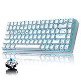 Mechanische Gaming-Tastatur, Bluetooth/2,4 GHz, kabellos/verdrahtet, 3 Modi, Blauer Schalter, 84 Tasten, kompakte Tastatur, wiederaufladbarer 3000 mAh Akku, 20 LEDs, Blaue Hintergrundbeleuchtung