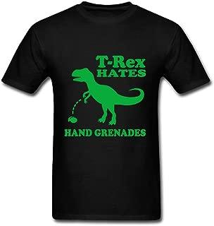 Men T-rex Hates Hand Grenades Image Color Custom Deepheather Size T-shirt