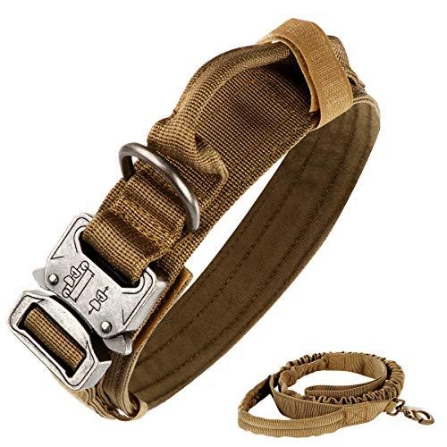 nobrand Taktisches Hundehalsband, Nylon, verstellbar, K9-Halsband, robuste Metallschnalle mit Griff, und taktische Bungee-Hundeleine aus Nylon, verstellbar, militärische Hundeleine (L, Khaki)