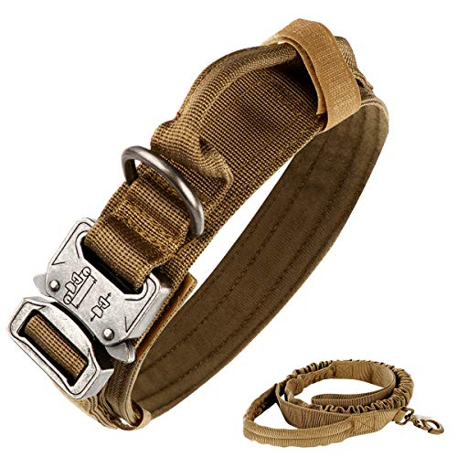 nobrand Collar táctico para perro de nailon ajustable K9 collar militar de perro con hebilla de metal resistente con asa y correa táctica elástica de nailon ajustable para perro (L, caqui)