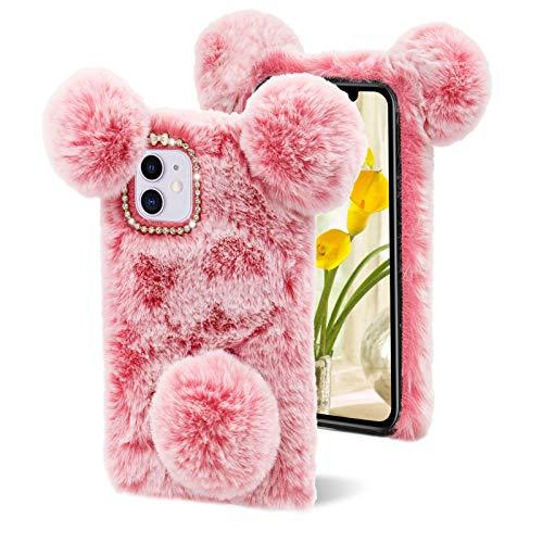 LCHDA Plüsch Hülle für Samsung Galaxy S20 FE, Schön 3D Panda Ohren Pelziger Haarball Fuzzy Weiches Kunstfell Warm Flauschige Pelz Niedlich Handytasche Stoßfest TPU-Silikon Schutzhülle - Pink
