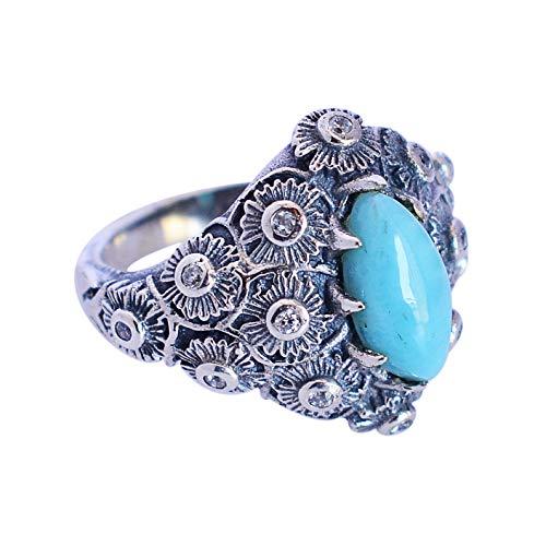 Ravishing Impressions Jewellery Mujer Unisex Plata fina 925 plata de ley Marquise-Shape Blue Larimar