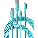 iPhone Charger 6ft 2 Pack, Xcentz MFi Certified Lightning Cable Nylon Braided High-Speed Data Sync Cord with Metal Connector for iPhone 11/11 Pro/Pro max/X/XS/XR/XS Max, iPad Mini/Air, Blue