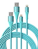 iPhone Charger 3ft 2 Pack Xcentz, Apple MFi Certified Lightning Cable High-Speed Braided Nylon iPhone Cable Premium Metal Connector for iPhone 11/11 Pro/Max/X/XS/XR/XS Max, iPad Pro/Mini/Air, Blue
