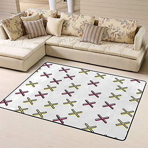 SESILY Fußmatten Teppich Teppiche zufällige Kreuze abstrakte geometrische in 80er Jahre 90er Jahre Retro-Stil Bunte geometrische krank Bodenmatte