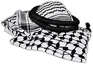 Arab Kafiya Keffiyeh Middle Eastern Scarf Wrap with Aqel Rope Black & White Color Checker Design Traditional Culture One Size Cotton Unisex
