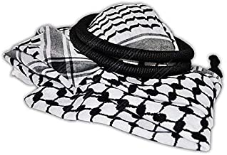Arab Keffiyeh Middle Eastern Scarf Wrap with Aqel Rope Checker Design Traditional Culture Cotton
