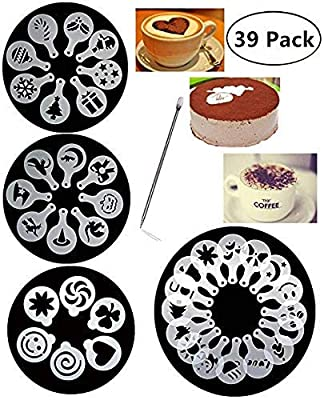 38 Coffee Decorating Stencils, Magnoloran Coffee Art Stencils Barista Template for All Kinds of Mousse, Cup Cake, Birthday Cake, Coffee + 1 Piece Coffee Latte Art Pen