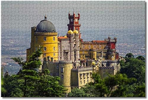 LFNSTXT Portugal Castle Foam Sintra Lissabon Puzzle für Erwachsene Kinder 500 Teile Holzpuzzle Spiel für Geschenke Heimdekoration besondere Reise-Souvenirs