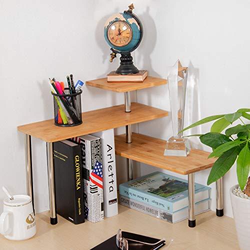Ollieroo Upgarde 3 Tier Desktop Organizer Office Kitchen Corner Shelf Unit Spice Rack Adjustable Bamboo Storage Rack(No Hooks)