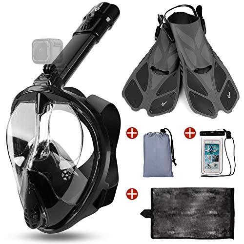 Odoland Snorkel Mask y Aletas Kit 5-en-1, Máscara de Buceo 180 °Cara Completa de Panorámico Visión Tecnología Antiempañante Anti-Fugas Camara Compatible, Nrgro L - (Mask L + Fins S)