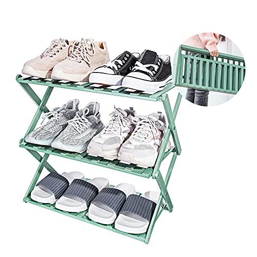 Achirp Schuhregal, tragbar, faltbar, integrierte Schuhaufbewahrung, Bambus-Schuh-Organizer, geeignet für Flur, Wohnzimmer, Badezimmer, Schlafzimmer und Flur (grün, 3 Etagen)