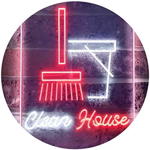 ADV PRO Clean House Helper Shop Display Dual Color LED Enseigne Lumineuse Neon Sign Blanc et Rouge 400 x 600mm st6s46-i3605-wr