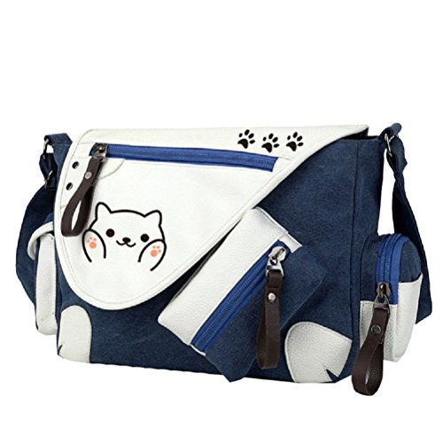 YOYOSHome Messenger-Bag / Umhängetasche mit Anime-Katzen-Design Neko Atsume blau blau2