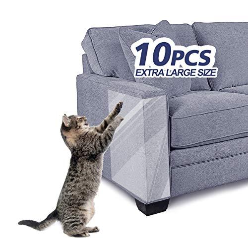 "FOCUSPET Furniture Protectors from Cats 10pcs Cat Scratch Deterrent Sheet | Double-Sided Training Tape an-ti Pet Scratch for Couch Furniture Protector 5XL-17""x12"" + 5L-17""x10"""