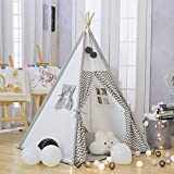 TreeBud Kids Teepee Play Tent - Cotton Canvas Child Indian Teepee Tent with Gray Chevron Playhouse for Kids Indoor Outdoors with Carry Bag