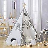 TreeBud Kinder Tipi Spielzelt - Baumwolle Leinwand Kind Indian Tipi Zelt mit weißen und Grau...