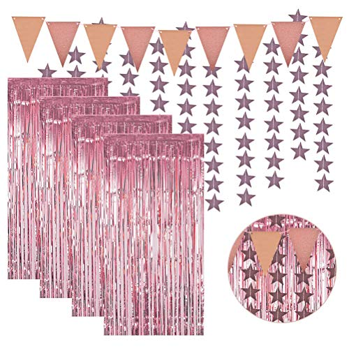 4 Pcs Rose Gold Metallic Tinsel,3.3ft x 8.2ft Foil Fringe Curtains Photo Backdrop Set,Triangular Banner,Glitter Star Paper Garland,Tinsel Curtains for Birthday Wedding Party Backdrop Wall Decorations