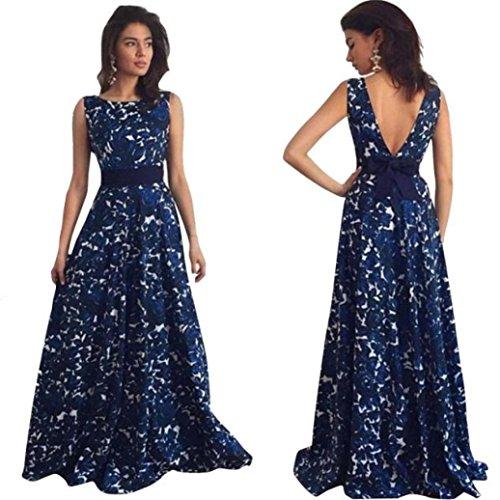 Overdose 2018 Vestidos MáS Populares Sexy Mujeres Floral Largo Formal Vestido De Fiesta del Partido Espalda Abierta Sexy Muse Vestido De Bola De Noche Vestido De Novia (XL, Azul)