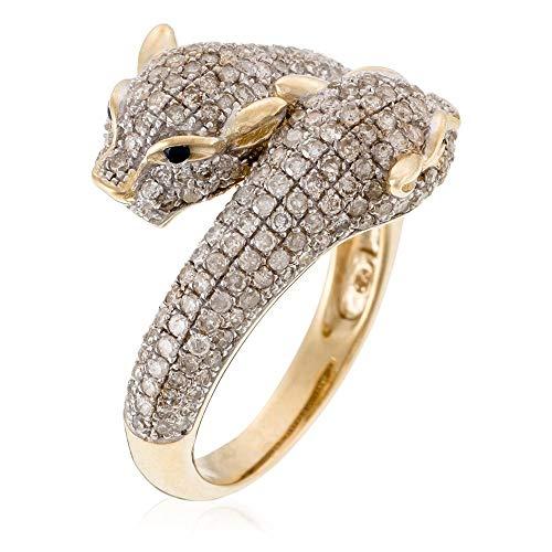"""Bague Or Jaune""""DUO DE PANTHÈRES"""" Diamants 1,28 carat et Saphir 0,03 carat"""