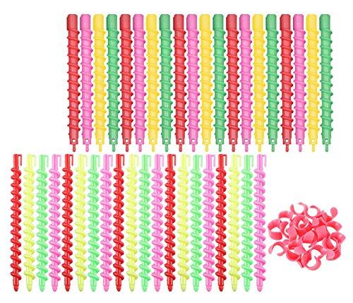 Rulos para el Pelo,40 piezas Bigudies Pelo de Plástico Barra Flexibles de Perm en Espiral Espirales para Mujeres Niñas Herramientas de Peluquería de Salón para Rizar(20 Grande ola y 20 pequeña ola)