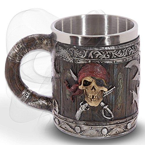 "Chope""Hell's Grog"" - Effet bois avec crâne d'un pirate - Flibustiers Fantaisie Caraïbes"