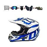 CJBYYBF Casco Motocross Niño, ECE Certificación Casco de moto para niños Downhill.Cascos de Cross de Moto Set con Gafas/Máscara/Red Elástica/Guantes (Azul, M:54-55 cm)