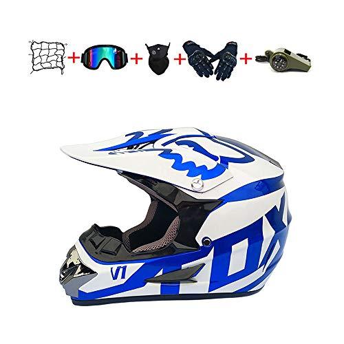 CJBYYBF Casco Motocross Niño, ECE Certificación Casco de moto para niños Downhill.Cascos de Cross de Moto Set con Gafas/Máscara/Red Elástica/Guantes (Azul, S:52-53 cm)