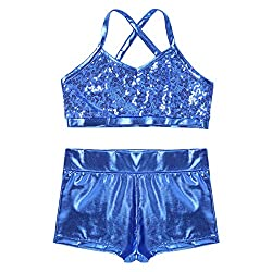 Light-Blue 2-Piece Active Sequin Top and Booty Short