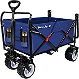 BEAU JARDIN Folding Wagon Garden Cart Foldable Push Trolleys Collapsible Utility 100KG Max load...