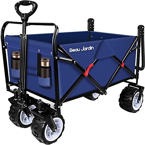 BEAU JARDIN Folding Wagon Garden Cart Foldable Push Trolleys Collapsible...