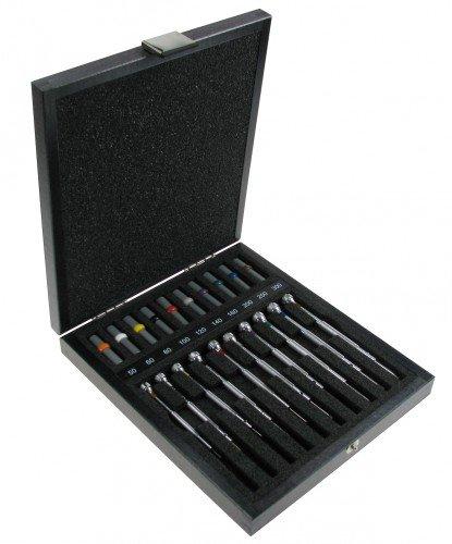 Bergeon schroevendraaier-assortiment 10 stuks in houten etui voor horloges Swiss Qualitiy 103490