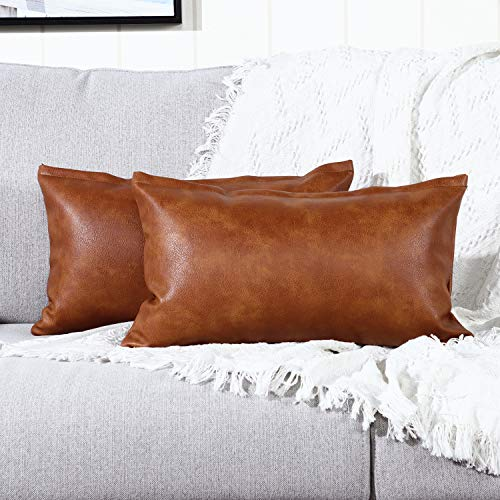 YAERTUN Set of 2 Lumbar Faux Leather Decorative Throw Pillow Covers Modern Solid Outdoor Cushion Cases Luxury Pillowcases for Couch Sofa Bed 12x20 Inches Brown