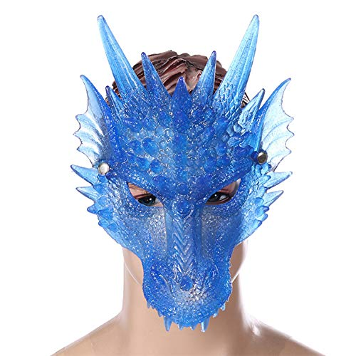 YULINGSTYLE Halloween Mask Halloween Ghost Cosplay Costume Dragon Masks for Adults Party Decoration Creepy Scary Horror Props (Blue)