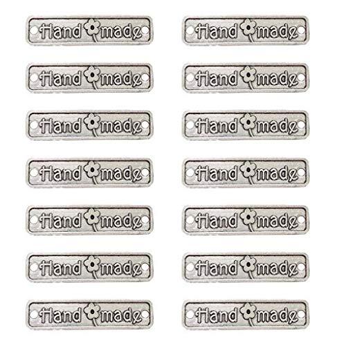 Juland 60 etiquetas de metal hechas a mano de aleación colgante de cuentas de metal para bricolaje, fabricación de joyas, manualidades, regalos – 25 x 6 mm – Rectángulo tono plateado