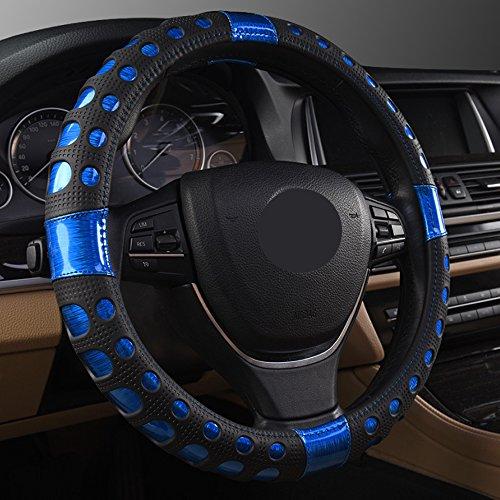 Universal Auto Lenkradhülle Lenkrad Abdeckung Lenkradbezug aus Laser gebürstet Leder 38CM / 15\'\' Anti Rutsch Atmungsaktiv Luxuriös Lenkradabdeckung Lenkradschoner, Blau