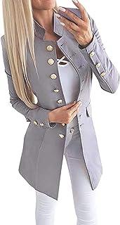 Shownicer Chaqueta De Mujer Abrigo Elegante Abrigo Militar Chaqueta con Estampado Chaqueta Ajustada Manga Larga Chaqueta D...