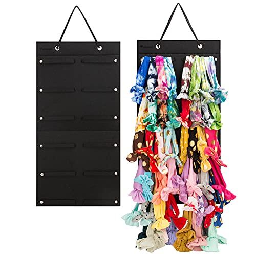 Hanging Baby Girl Headbands Storage Organizer, Newborn Headbands and Bows Holder(Smal 12 Snap Band, Black)