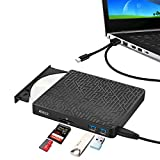 Grabadora CD/DVD Externa USB 3.0, ANIZR 2 Puertos Hub USB 3.0 con Lector de Tarjetas SD/TF Type-C CD/DVD +/- RW Drive ROM Rewriter Burner para PC Desktop Laptop Windows Linux OS Mac Vista